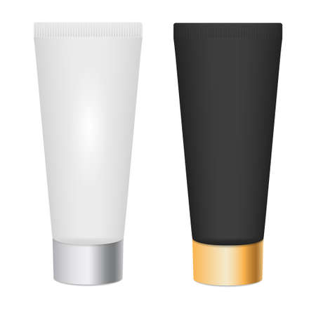 Realistic skin toner,cosmetic cream 3d mock up. White and black tubes with silver and gold cap. Make up tool. Isolated empty template for your branding and design presentation. Vector illustration.