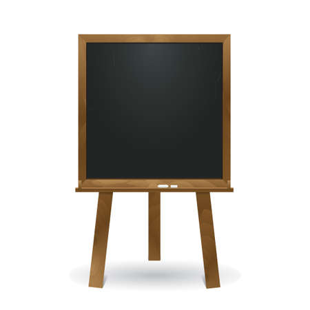 Standing square blackboard in wooden frame. Chalkboard isolated on white background. Applicable for business and educational presentation. 3d realistic illustration. Eps 10