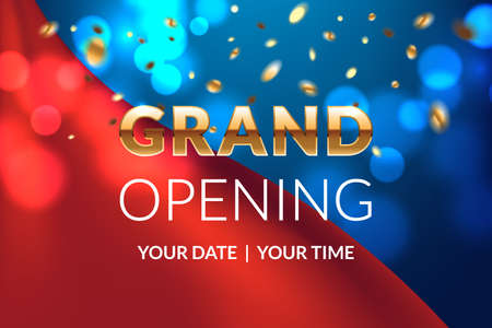 Grand opening banner concept. Celebration design. Gold glitter letters on luxury background with light effect, silk fabric and confetti. Applicable for flyer, presentation and poster design. Vettoriali