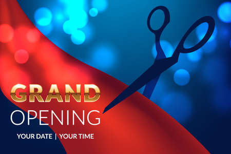 applicable: Grand opening invitation concept. Gold glitter letters on luxury background with light effect,scissors, red ribbon. Celebration design. Applicable for flyer, presentation and poster design.