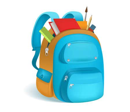 Bunte Schultasche mit Schulmaterial. 3D Rucksack mit Reißverschlüssen isoliert auf weißem Hintergrund. Vektor-Illustration. Eps 10.