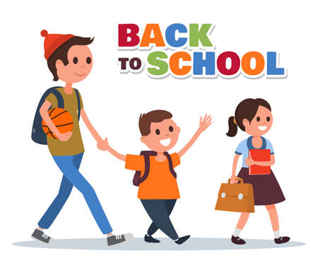 Group of kids with backpacks go to school. Flat colorful illustration. Cartoon style. Vector eps 10.