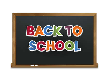 attribute: School blackboard with paper letters. Black chalk board isolated on white background. Back to school vector illustration. Eps 10