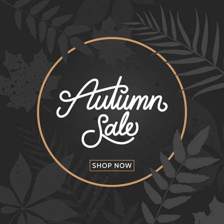 Autumn sale calligraphy on trendy dark floral background. Fall sale banner with foliage. Template for promo, advertising, flyer, poster. Vector eps 10. Ilustração