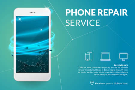 Phone repair service banner template. Smartphone with broken screen on blue background. Repairing electronics. Advertising concept. Vector eps 10. Vectores