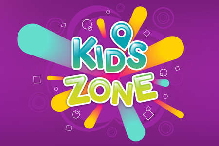 Kids zone colorful banner. Caramel text on background of colored sprays. Poster for children playroom. 일러스트