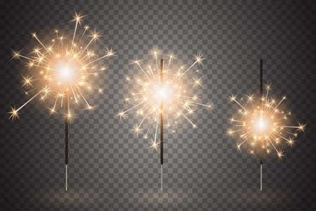 Conjunto de luz de Bengala de Navidad. Luces de Bengala realistas aisladas sobre fondo transparente. Festivos fuegos artificiales brillantes. Elemento de decoraciones para celebraciones y fiestas. Ilustración vectorial Ilustración de vector