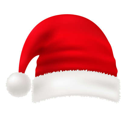 Vector red santa hat isolated on white transparent background. New Year hat with pompon. Traditional symbol of a christmas costume. Element of xmas design. Eps 10 Çizim