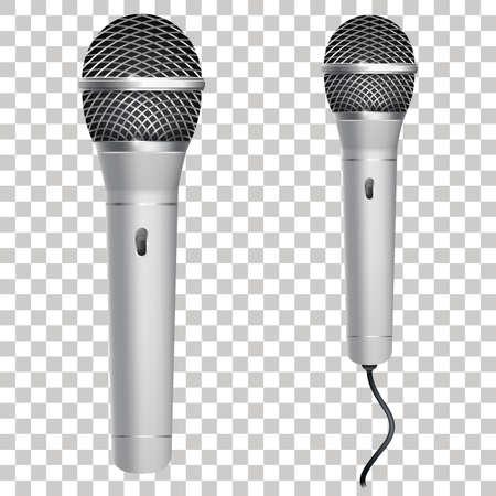 Realistische zilveren microfoon geïsoleerd op transparante achtergrond. Professionele karaokemicrofoon met draad. Vector illustratie. Eps 10.