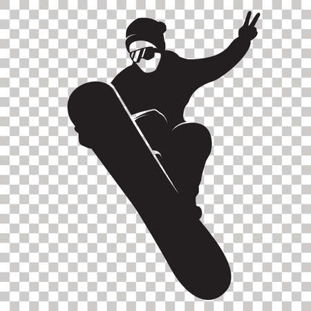 Snowboarder Silhouette isolated on transparent background. Stylized Snowboarder black logo. Rider with snowboard. Winter sport icon. Vector illustration. Stock Illustratie
