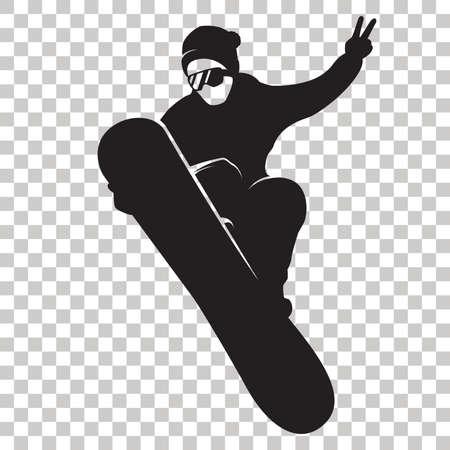 Snowboardzista sylwetka na przezroczystym tle. Stylizowane czarne logo Snowboarder. Jeździec ze snowboardem. Ikona sportów zimowych. Ilustracji wektorowych.