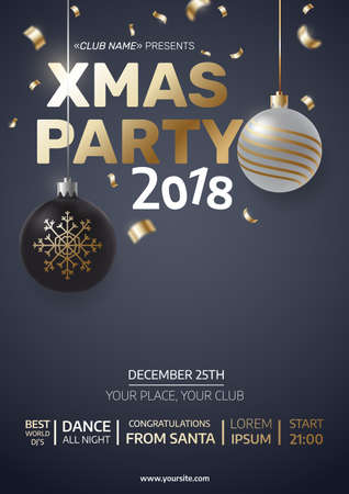 Modern christmas illustration with black and silver christmas balls and confetti. A4 Xmas party invitation. Place for your text. Vector eps 10 Illustration