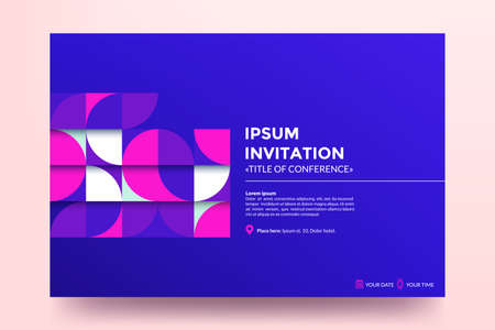 Invitation template. Modern colorful geometric pattern with abstract shapes on blue background. Applicable for banner,web page development, poster, magazine page. Illustration
