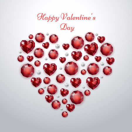 Valentines day greeting card with red heart on white background. Heart made of precious stones and pearls. Festive illustration for February 14.