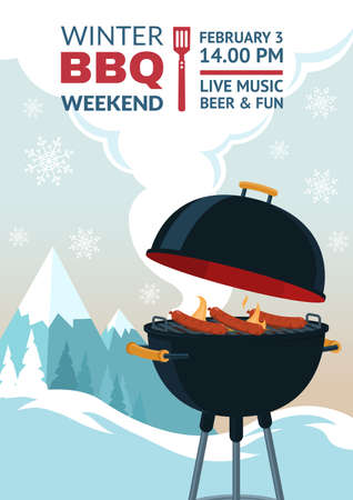 Winter barbecue party invitation. BBQ weekend on winter background. Grill illustration in snowy mountains. Cartoon design for menu, poster, announcement.