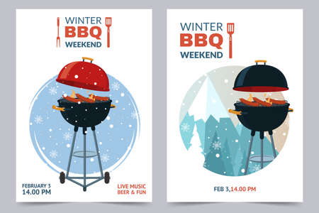 Winter BBQ party invitation template. Barbecue weekend Grill illustration on snowy backdrop. Cartoon design for menu, poster, announcement.