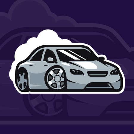 Sport car vector illustration. Drift car logo design. Illustration