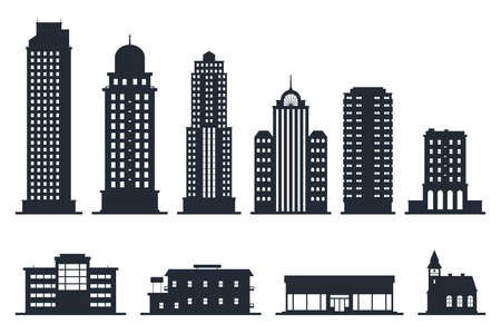 City Buildings Silhouette Vector Illustration Isolated On White Background Black Silhouettes Of Skyscrapers And Low