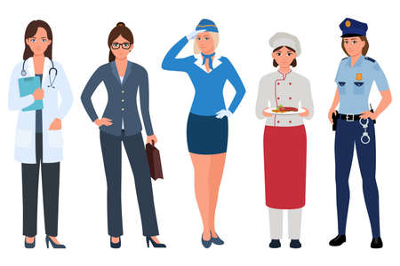 Young women of different professions icon set. Doctor, stewardess, business lady, cook, policewoman isolated on white background. Women careers vector illustration in flat cartoon style.