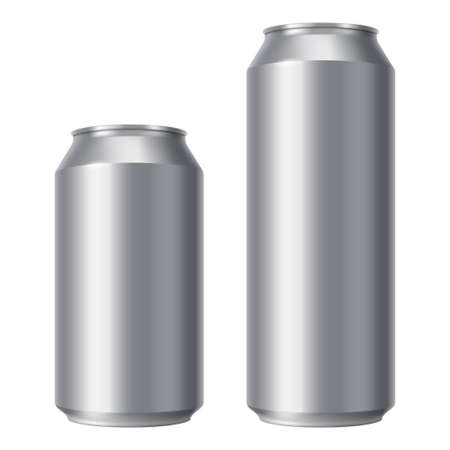 Blank beer can mock up. Small and Big Aluminium soda can isolated on white background. Realistic Drink packaging for branding and presentation of your design.