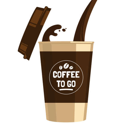 Coffee to go cup cartoon flat illustration. Pouring coffee into a cup isolated on white background. Hot invigorating drink. Decorative element for menu, advertising, flyer and poster design. Reklamní fotografie - 93936881
