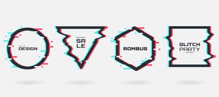 Vector glitch frames set. Geometric shapes with Tv distortion effect. Circle, triangle, rhombus and square with vhs glitch effect. Applicable for banner design, invitation, party flyer, etc.
