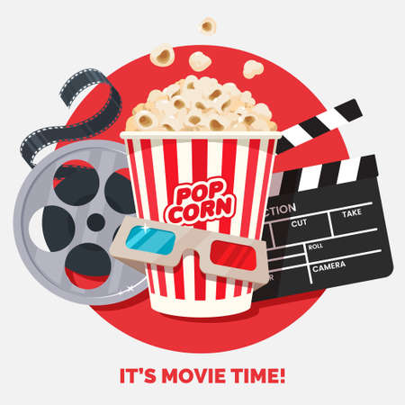 Movie time vector illustration. Cinema poster concept on red round background. Composition with popcorn, clapperboard, 3d glasses and filmstrip. Cinema banner design for movie theater.
