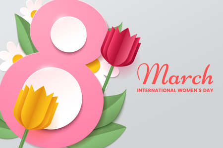 8 March. Womens day vector greeting card with decor of paper cut tulips, chamomiles and leafs. Number 8 in the style of cut paper. Applicable for web banner, cards and invitation. Illustration