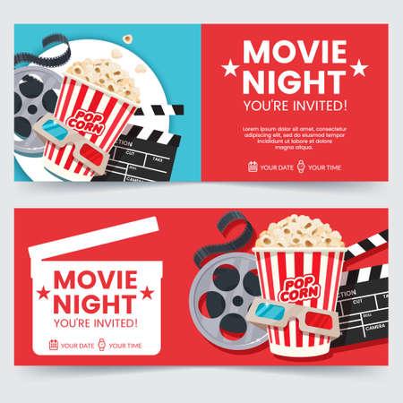 Koncepcja projektu biletów do kina. Zaproszenie na wieczór filmowy. Szablon plakatu kina. Kompozycja z popcornem, klapsem, okularami 3d i taśmą przezroczystą. Projekt banera dla kina. Ilustracje wektorowe