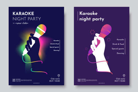 Karaoke party invitation flyer template. Silhouette of Hand with microphone on an abstract dark background. Concept for a night club advertising company. Creative invite poster. Vector eps 10 Illustration