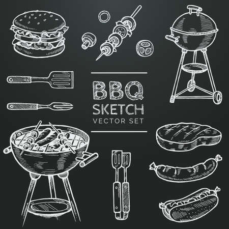 Barbecue vector chalk sketch set. Hand drawn grill, hamburger, skewer, hot dog, steak, sausage. Set for grilling doodle illustration. Bbq party hand drawn design elements.