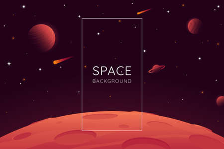 Red planet landscape vector illustration. Space background with place for text. Surface of the planet with craters. Space decoration for your design. Stars and comets on dark background.