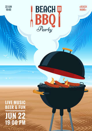 Beach barbecue party invitation. Summer BBQ party flyer. Grill illustration on the background of the beach. Design for flyer, menu, poster, announcement. Vettoriali