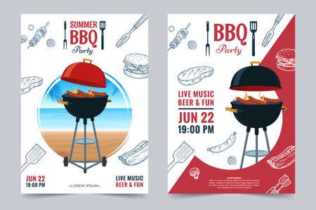 BBQ party a4 invitation template. Summer Barbecue weekend flyer. Grill illustration with food sketches . Design template for menu, poster, announcement.