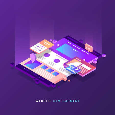 Website development vector illustration. Colorful Web page isometric icon. Modern landing page. Site building. Eps 10. 일러스트