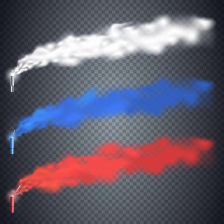 Football fans torch fireworks in Russia colors. Red, blue, white pillar of smoke isolated on transparent background. Colorful Festive smoke bomb. Vector element for your design.