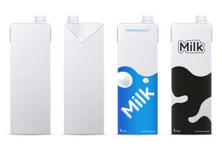 Mockup di pacchetto latte di vettore isolato su priorità bassa bianca. Scatola di cartone per latte o succo di frutta mock up. Vista frontale e laterale. Elemento per il marchio del prodotto.