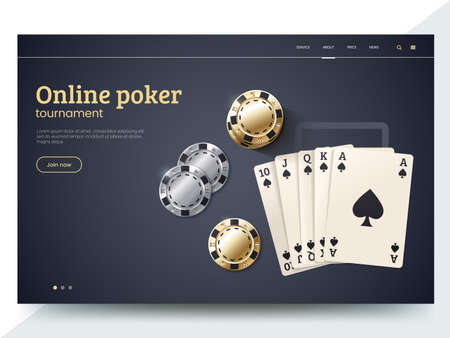 Online poker tournament landing page template. Playing cards with gold and silver chips. Vector illustration for internet casino. Modern web page interface design for gambling. Eps 10. Illustration