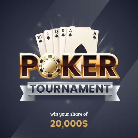 Casino poker tournament banner. Gold text with a playing chip and cards. Royal flush poker combination. Applicable for promotion ticket, flyer. Vector illustration. Foto de archivo - 112203593