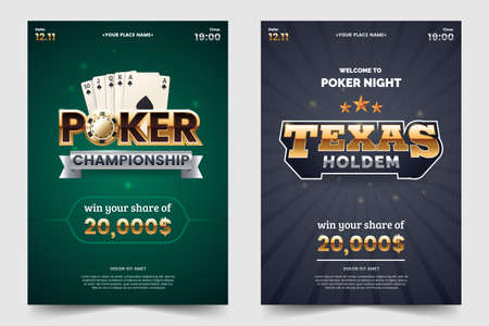 Casino poker tournament a4 flyer. Gold text with playing chips and cards. Texas hold'em championship. Poker party invitation template. Vector illustration. Illustration