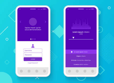 Conceptual mobile phone mock-up for app interface presentation. User interface design concept. Smartphone screen on colorful abstract background. Vector eps 10.
