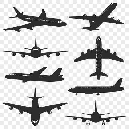 Ensemble de silhouettes d'avions. Silhouette d'avion isolée sur fond transparent. Avion de passagers sous différents angles. Vecteur eps 10.