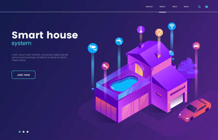Smart house technology isometric illustration with icons. Intelligence home building landing page concept. Modern web page interface design. Internet of things. Vector eps 10. Фото со стока - 106377671