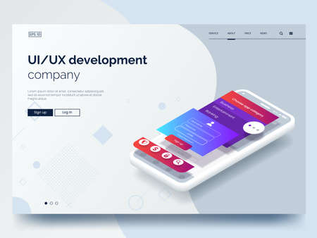 Isometric conceptual mobile phone with disassembled user interface. Ui, Ux development vector illustration. Landing page concept. Mobile app wireframe. Eps 10. Ilustração