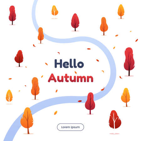 Hello autumn vector illustration. Autumn forest with falling foliage. Colorful trees silhouettes and small river in minimalism flat style. Design elements for greeting card, web banner, invitation.
