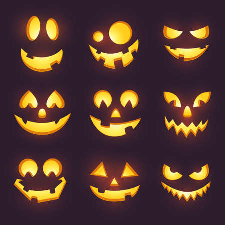 Vector spooky glowing face isolated on dark background. Halloween pumpkin carving faces set. Funny and scary eyes and mouth. Emojis for your celebration design. Eps 10.