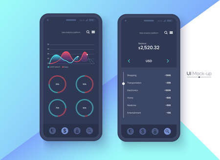 Conceptual black mobile phone mock-up for app interface presentation. User interface design concept. Smartphone screen on colorful abstract background. Vector eps 10. Illustration