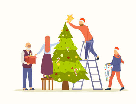 People decorating big Christmas tree vector flat illustration. Family decorates the tree for new year and christmas. Preparation for winter holidays. Eps 10.