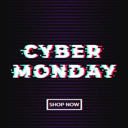 Cyber maandag verkoop promotie webbanner met glitch effect. Interferentietekst en winkel nu knop op donkere achtergrond. Concept voor online winkel. vector illustratie