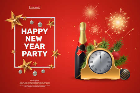 Happy New Year party invitation. Composition with a golden clock, champagne bottle, fir branches and festive fireworks. Decorative frame with gold stars and Christmas balls. Vector illustration